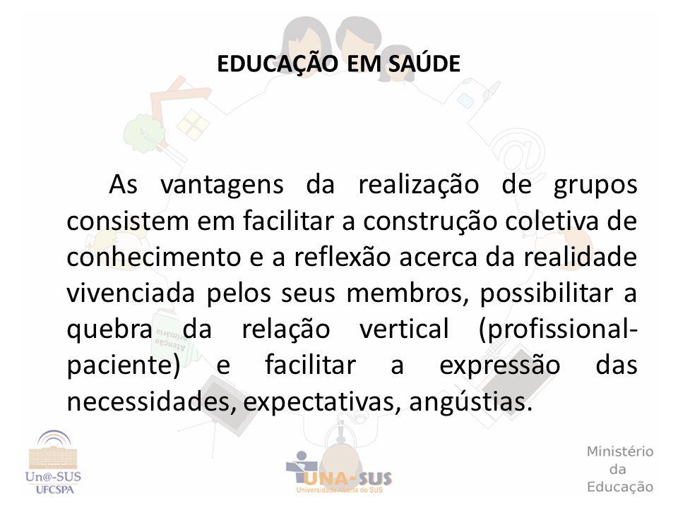 EDUCAÇÃO EM SAÚDE As vantagens da realização de grupos consistem em facilitar a construção coletiva de conhecimento e a reflexão acerca da realidade v