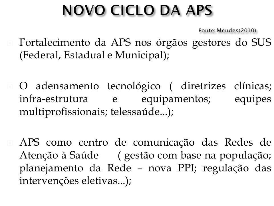 Fortalecimento da APS nos órgãos gestores do SUS (Federal, Estadual e Municipal); O adensamento tecnológico ( diretrizes clínicas; infra-estrutura e e