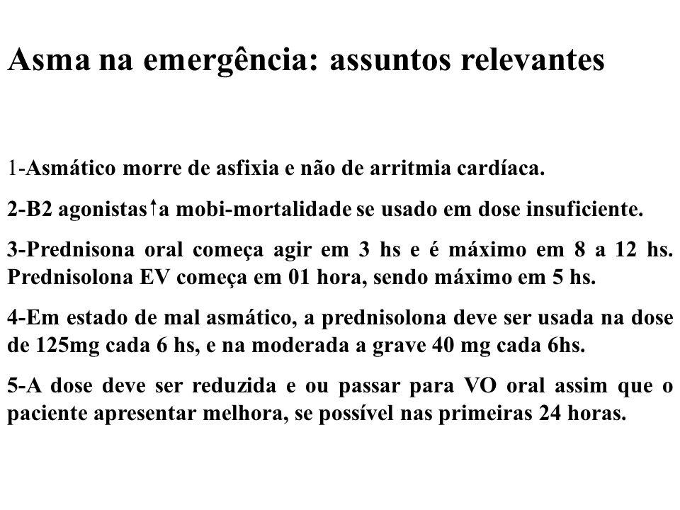 Asma na emergência: assuntos relevantes 1-Asmático morre de asfixia e não de arritmia cardíaca. 2-B2 agonistas a mobi-mortalidade se usado em dose ins