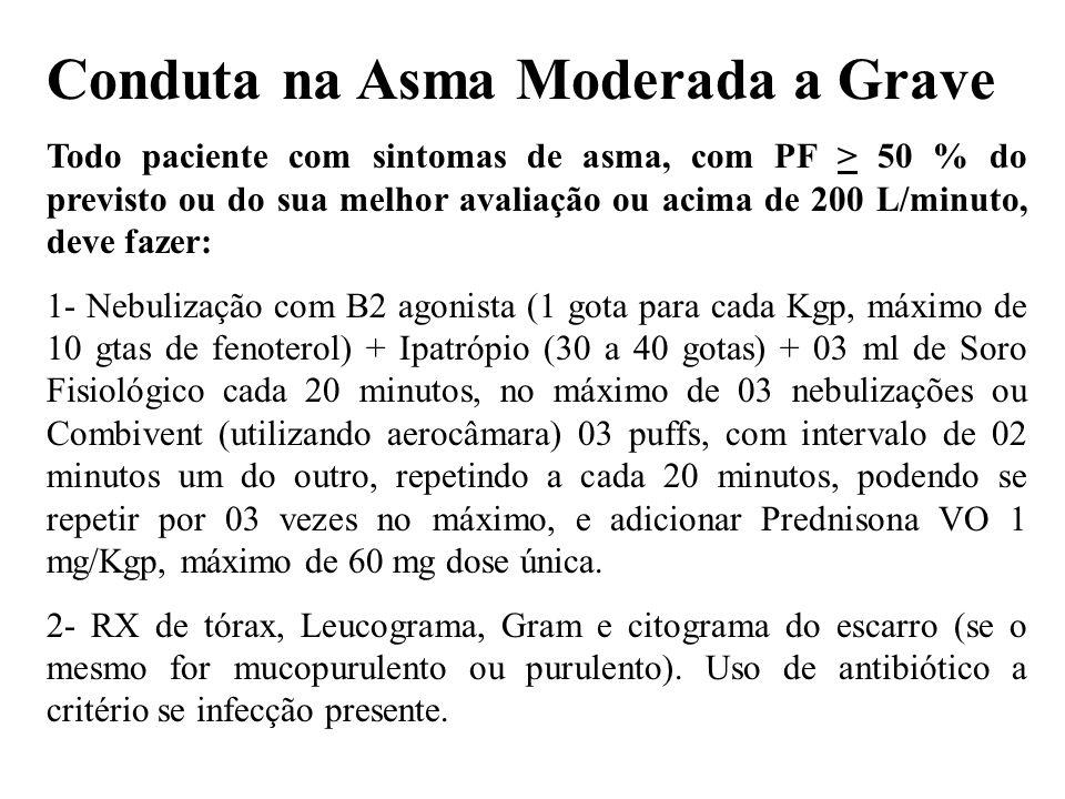 Conduta na Asma Moderada a Grave Todo paciente com sintomas de asma, com PF > 50 % do previsto ou do sua melhor avaliação ou acima de 200 L/minuto, de