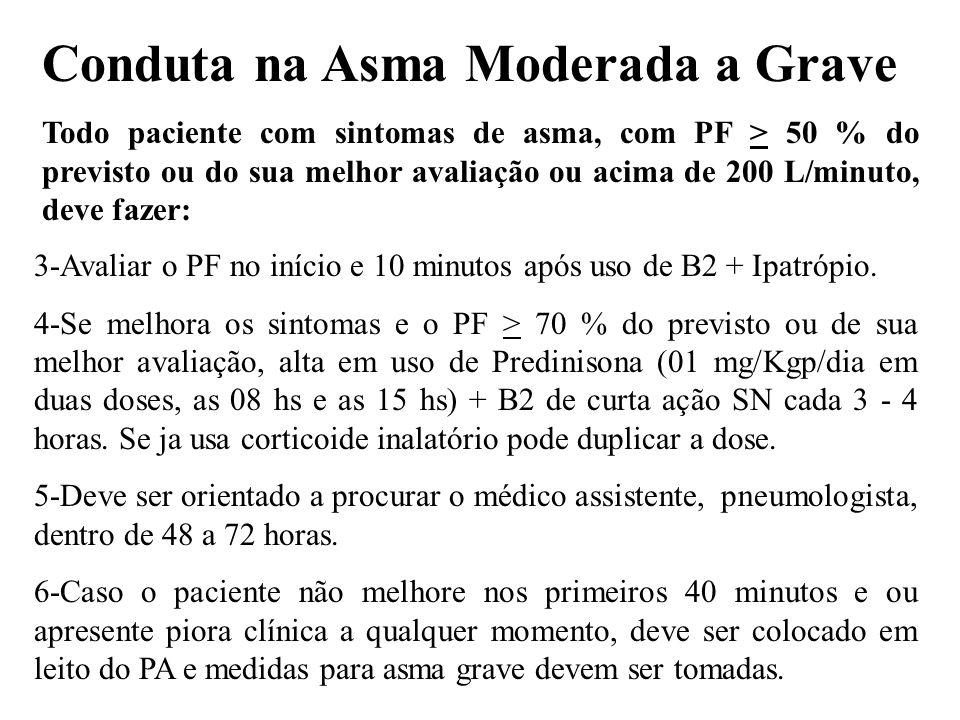 3-Avaliar o PF no início e 10 minutos após uso de B2 + Ipatrópio. 4-Se melhora os sintomas e o PF > 70 % do previsto ou de sua melhor avaliação, alta