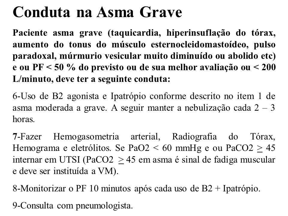 Conduta na Asma Grave Paciente asma grave (taquicardia, hiperinsuflação do tórax, aumento do tonus do músculo esternocleidomastoídeo, pulso paradoxal,