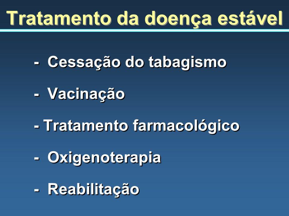 Tratamento da doença estável - Cessação do tabagismo - Vacinação - Tratamento farmacológico - Oxigenoterapia - Reabilitação - Cessação do tabagismo -