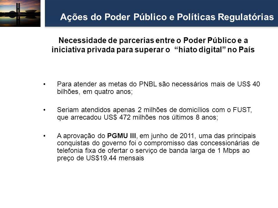 Necessidade de parcerias entre o Poder Público e a iniciativa privada para superar o hiato digital no País Ações do Poder Público e Políticas Regulató