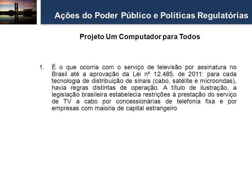 Projeto Um Computador para Todos Ações do Poder Público e Políticas Regulatórias 1.É o que ocorria com o serviço de televisão por assinatura no Brasil