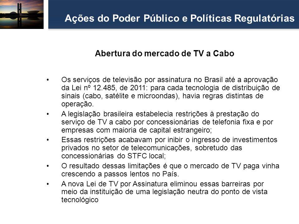 Abertura do mercado de TV a Cabo Ações do Poder Público e Políticas Regulatórias Os serviços de televisão por assinatura no Brasil até a aprovação da