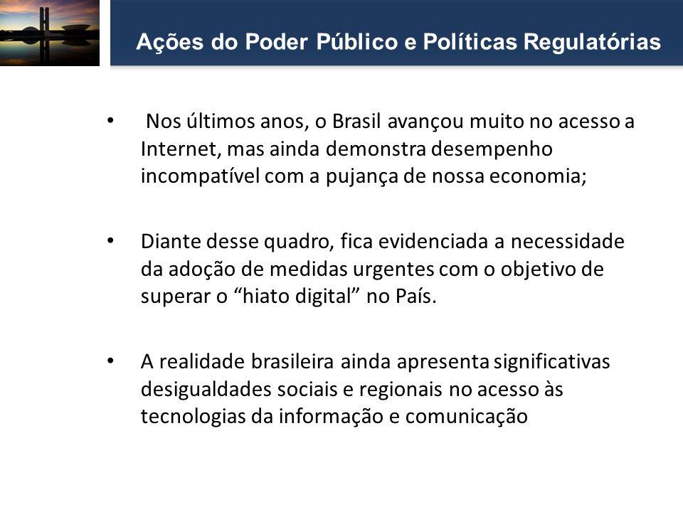 Nos últimos anos, o Brasil avançou muito no acesso a Internet, mas ainda demonstra desempenho incompatível com a pujança de nossa economia; Diante des