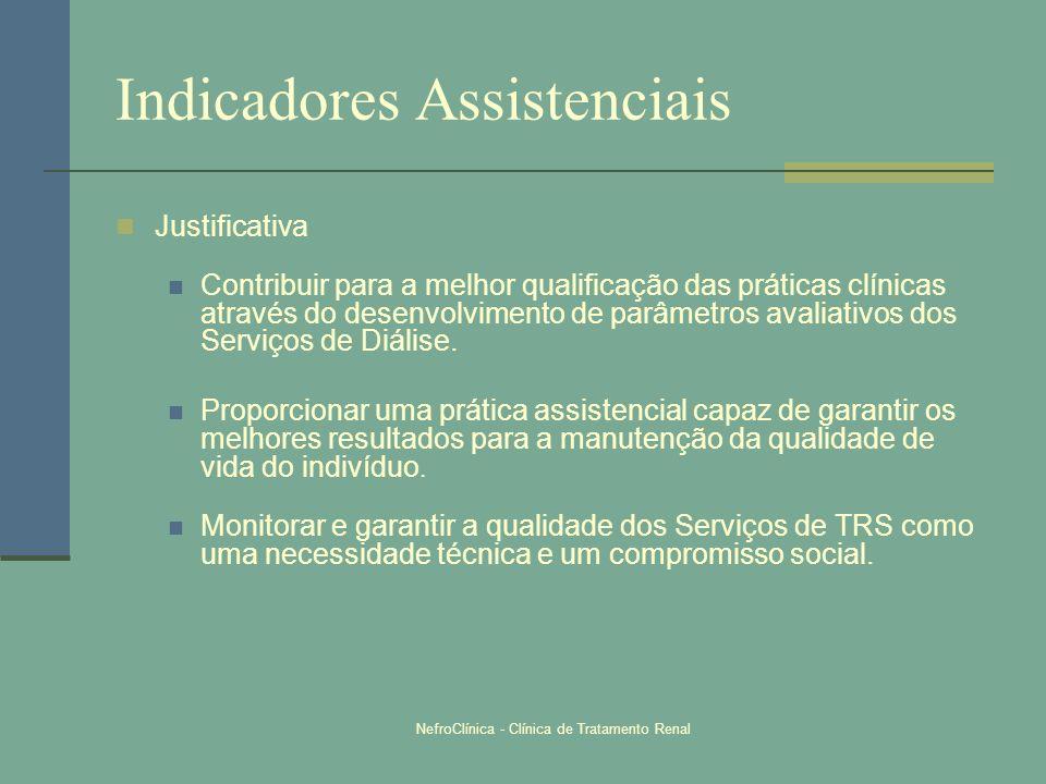 NefroClínica - Clínica de Tratamento Renal Indicadores Assistenciais Justificativa Contribuir para a melhor qualificação das práticas clínicas através