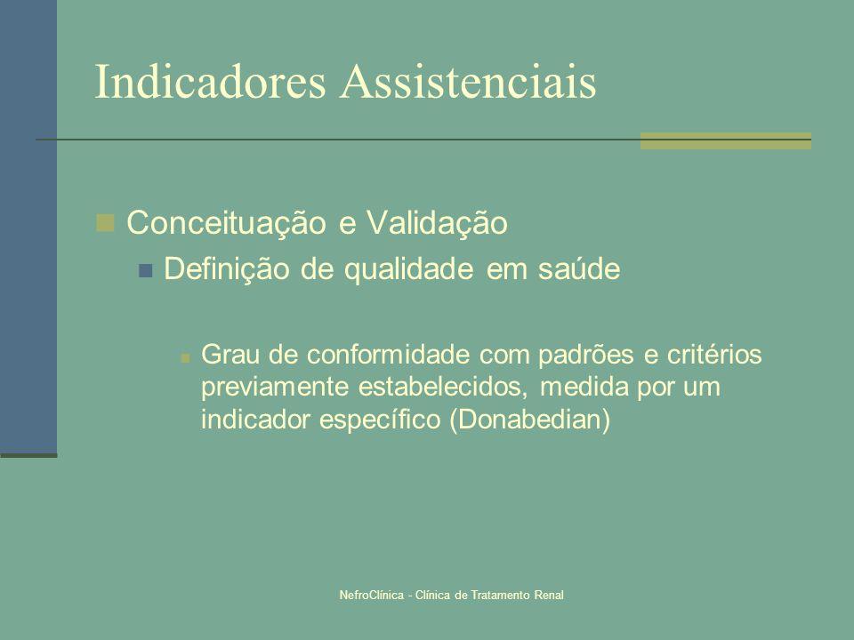 NefroClínica - Clínica de Tratamento Renal Indicadores Assistenciais Conceituação e Validação Definição de qualidade em saúde Grau de conformidade com