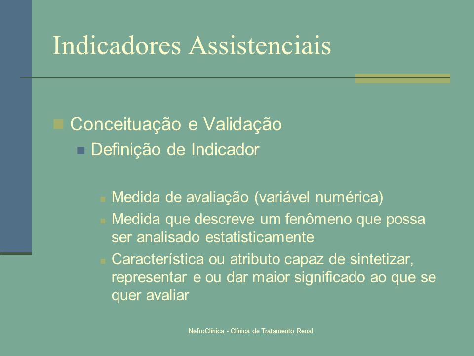 NefroClínica - Clínica de Tratamento Renal Indicadores Assistenciais Conceituação e Validação Definição de Indicador Medida de avaliação (variável num