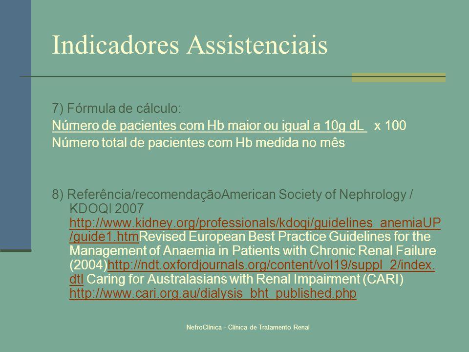 NefroClínica - Clínica de Tratamento Renal Indicadores Assistenciais 7) Fórmula de cálculo: Número de pacientes com Hb maior ou igual a 10g dL x 100 N