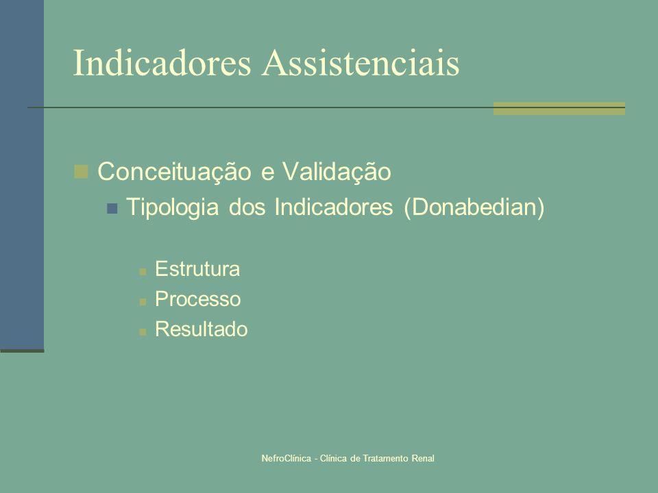 NefroClínica - Clínica de Tratamento Renal Indicadores Assistenciais Conceituação e Validação Tipologia dos Indicadores (Donabedian) Estrutura Process