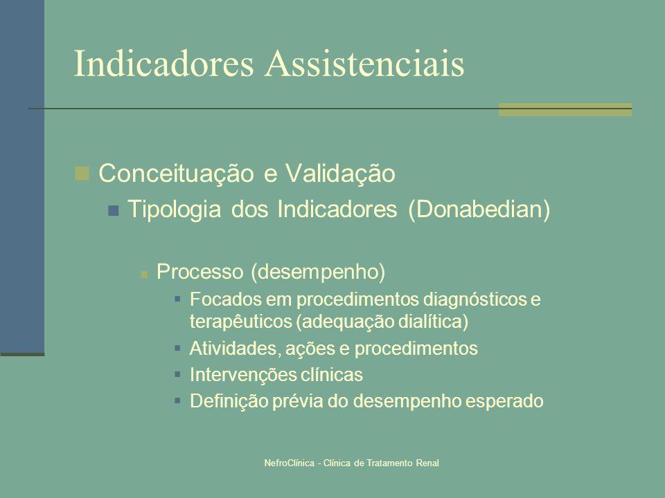 NefroClínica - Clínica de Tratamento Renal Indicadores Assistenciais Conceituação e Validação Tipologia dos Indicadores (Donabedian) Processo (desempe