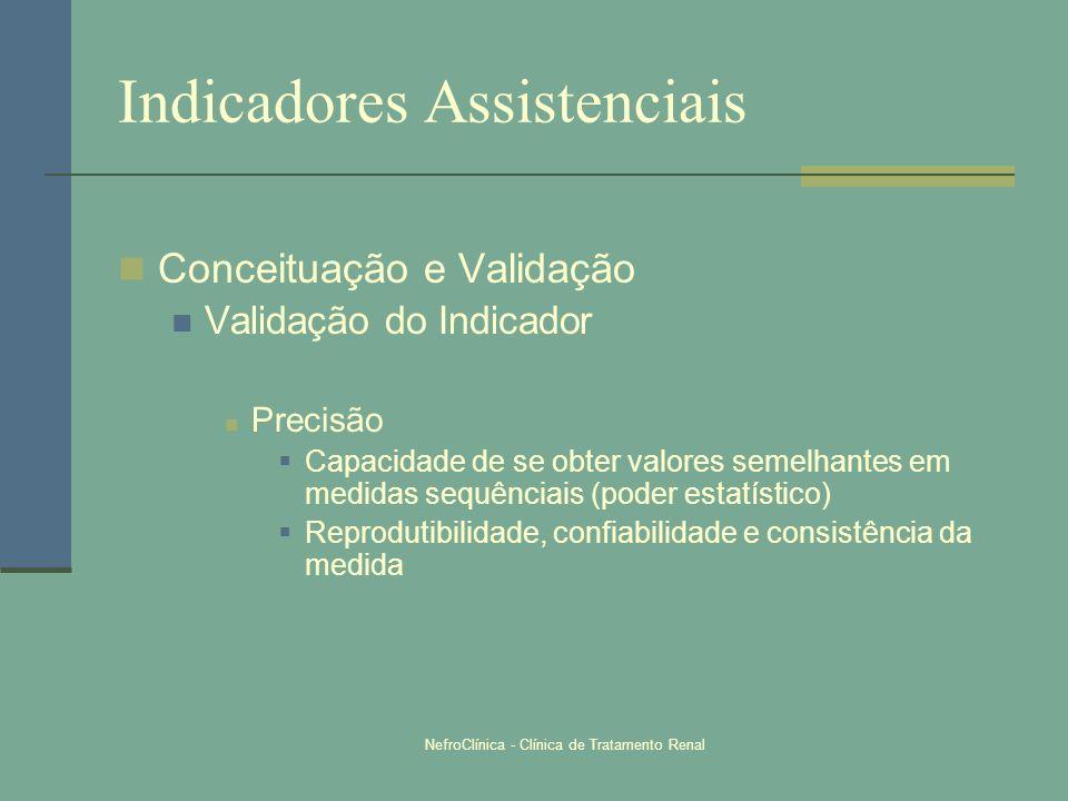 NefroClínica - Clínica de Tratamento Renal Indicadores Assistenciais Conceituação e Validação Validação do Indicador Precisão Capacidade de se obter v