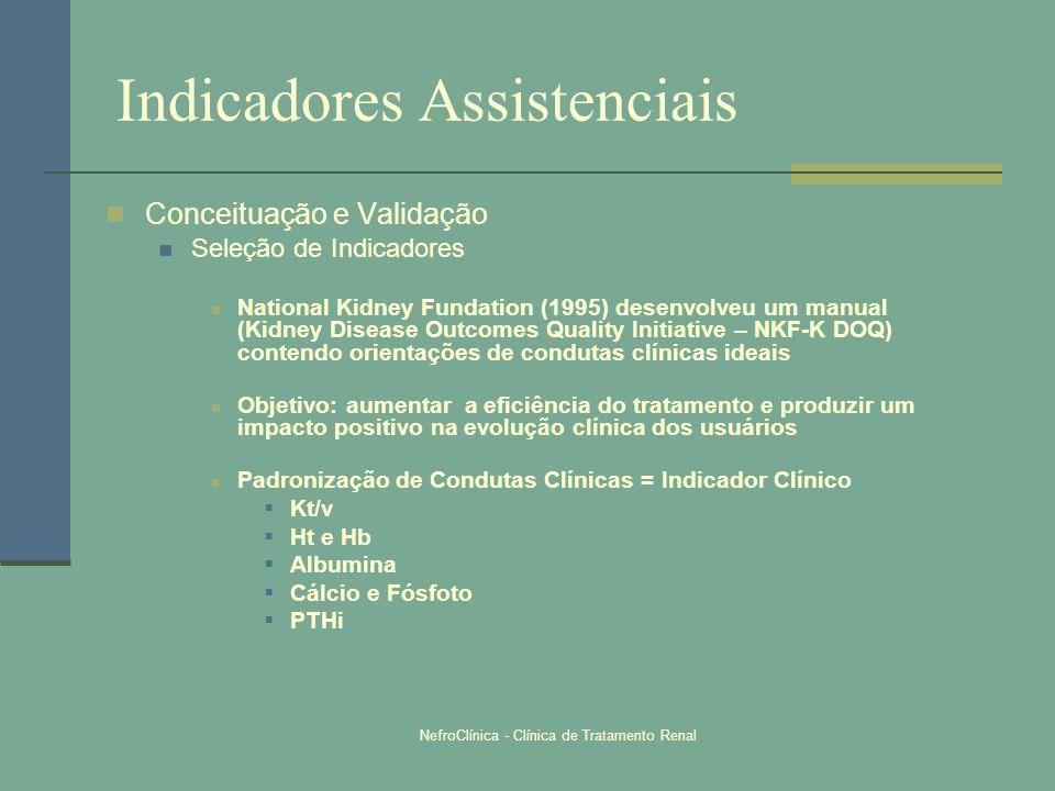 NefroClínica - Clínica de Tratamento Renal Indicadores Assistenciais Conceituação e Validação Seleção de Indicadores National Kidney Fundation (1995)