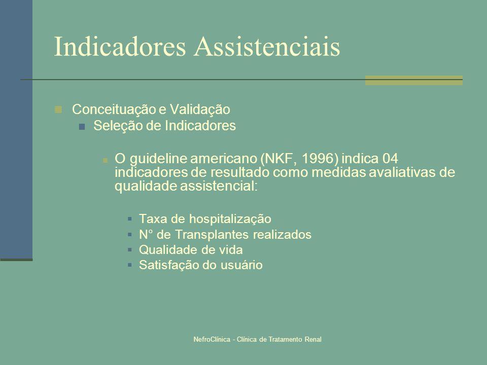NefroClínica - Clínica de Tratamento Renal Indicadores Assistenciais Conceituação e Validação Seleção de Indicadores O guideline americano (NKF, 1996)