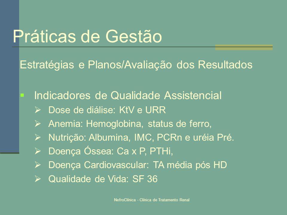 NefroClínica - Clínica de Tratamento Renal Estratégias e Planos/Avaliação dos Resultados Indicadores de Qualidade Assistencial Dose de diálise: KtV e