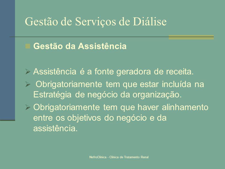 NefroClínica - Clínica de Tratamento Renal Gestão de Serviços de Diálise Gestão da Assistência Assistência é a fonte geradora de receita. Obrigatoriam