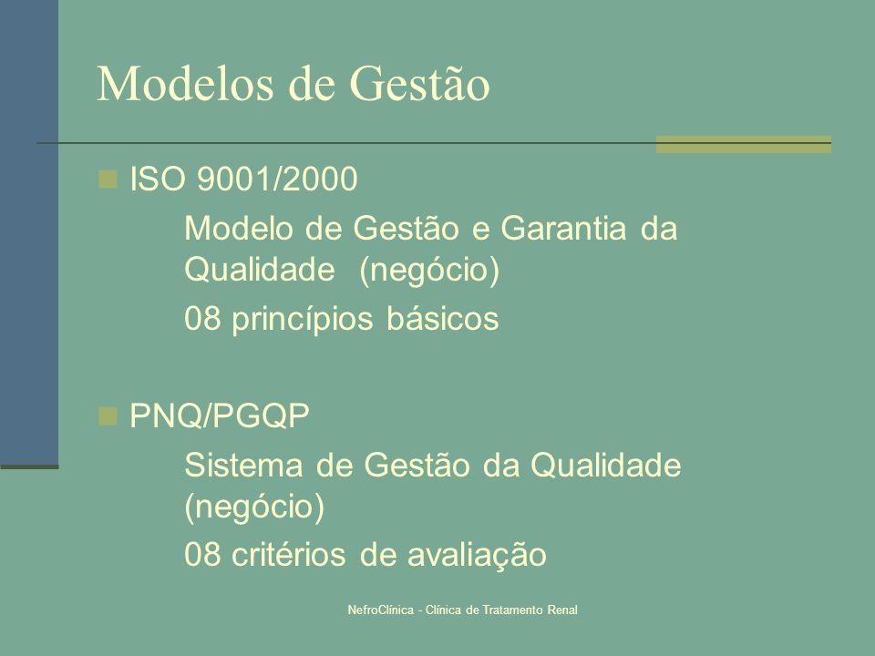 NefroClínica - Clínica de Tratamento Renal Modelos de Gestão ISO 9001/2000 Modelo de Gestão e Garantia da Qualidade (negócio) 08 princípios básicos PN