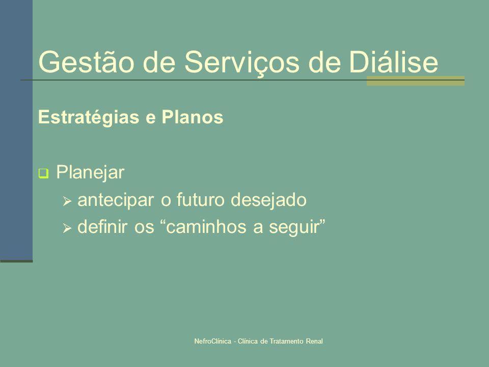 NefroClínica - Clínica de Tratamento Renal Gestão de Serviços de Diálise Estratégias e Planos Planejar antecipar o futuro desejado definir os caminhos