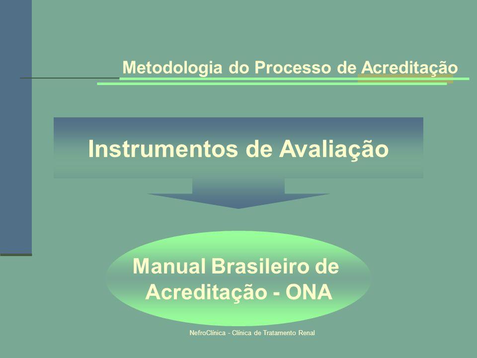 NefroClínica - Clínica de Tratamento Renal Metodologia do Processo de Acreditação Instrumentos de Avaliação Manual Brasileiro de Acreditação - ONA