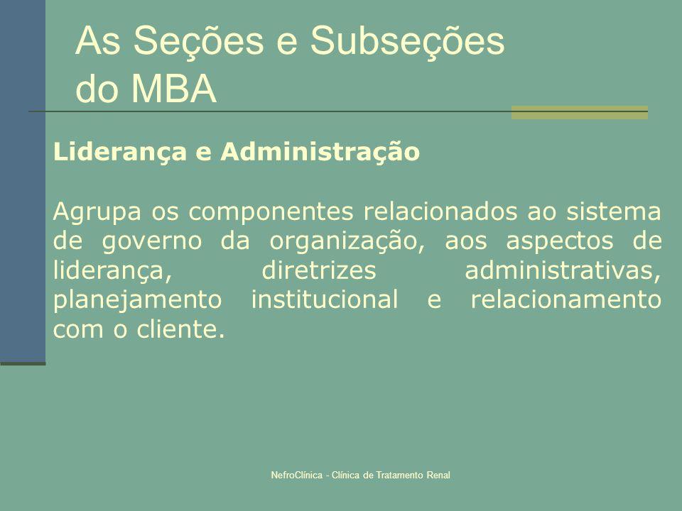 NefroClínica - Clínica de Tratamento Renal As Seções e Subseções do MBA Liderança e Administração Agrupa os componentes relacionados ao sistema de gov