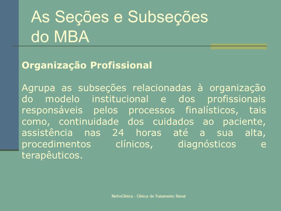 NefroClínica - Clínica de Tratamento Renal As Seções e Subseções do MBA Organização Profissional Agrupa as subseções relacionadas à organização do mod