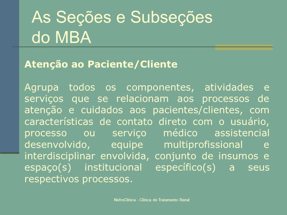 NefroClínica - Clínica de Tratamento Renal As Seções e Subseções do MBA Atenção ao Paciente/Cliente Agrupa todos os componentes, atividades e serviços