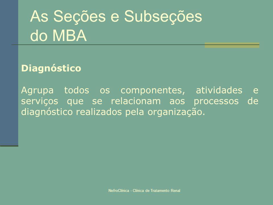 NefroClínica - Clínica de Tratamento Renal As Seções e Subseções do MBA Diagnóstico Agrupa todos os componentes, atividades e serviços que se relacion