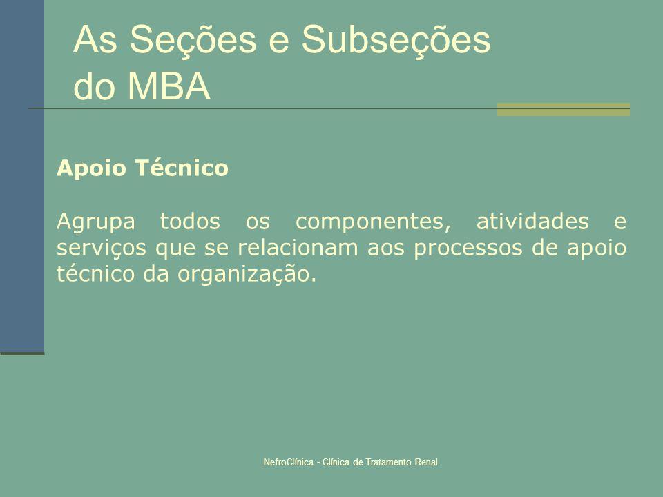 NefroClínica - Clínica de Tratamento Renal As Seções e Subseções do MBA Apoio Técnico Agrupa todos os componentes, atividades e serviços que se relaci