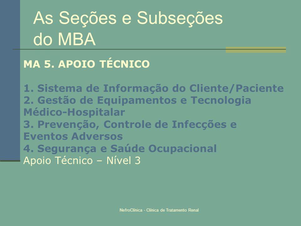 NefroClínica - Clínica de Tratamento Renal As Seções e Subseções do MBA MA 5. APOIO TÉCNICO 1. Sistema de Informação do Cliente/Paciente 2. Gestão de