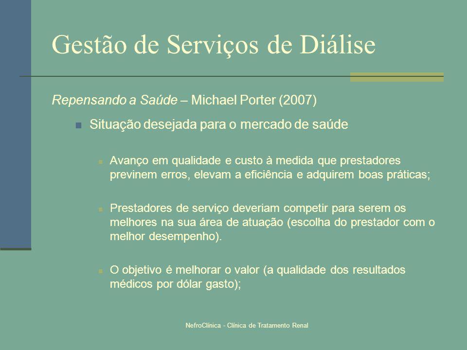 NefroClínica - Clínica de Tratamento Renal Gestão de Serviços de Diálise Repensando a Saúde – Michael Porter (2007) Situação desejada para o mercado d