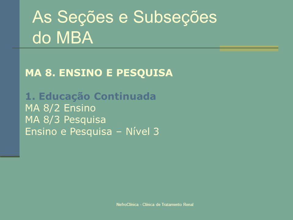 NefroClínica - Clínica de Tratamento Renal As Seções e Subseções do MBA MA 8. ENSINO E PESQUISA 1. Educação Continuada MA 8/2 Ensino MA 8/3 Pesquisa E