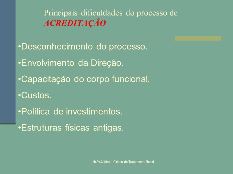 NefroClínica - Clínica de Tratamento Renal Principais dificuldades do processo de ACREDITAÇÃO Desconhecimento do processo. Envolvimento da Direção. Ca