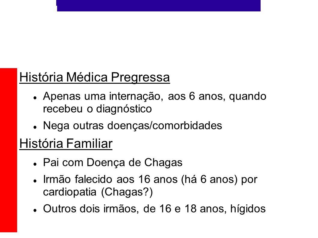História Médica Pregressa Apenas uma internação, aos 6 anos, quando recebeu o diagnóstico Nega outras doenças/comorbidades História Familiar Pai com D