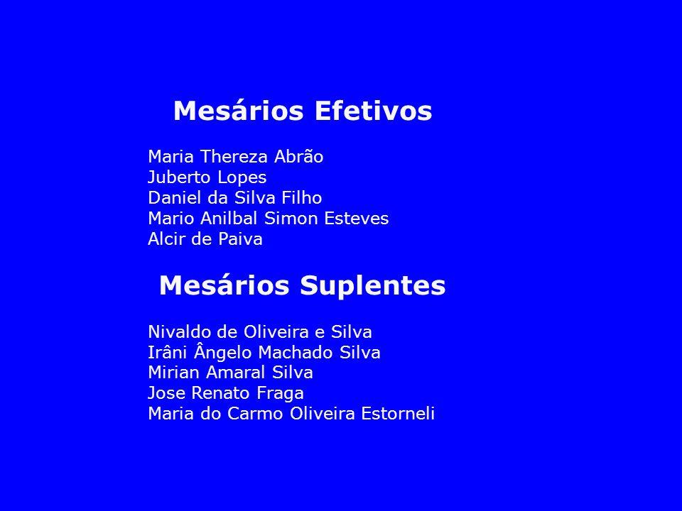 Mesários Efetivos Maria Thereza Abrão Juberto Lopes Daniel da Silva Filho Mario Anilbal Simon Esteves Alcir de Paiva Mesários Suplentes Nivaldo de Oli