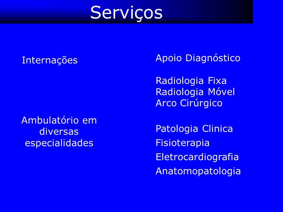 Serviços Apoio Diagnóstico Radiologia Fixa Radiologia Móvel Arco Cirúrgico Patologia Clinica Fisioterapia Eletrocardiografia Anatomopatologia Ambulató