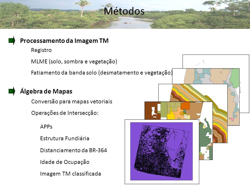 Métodos Processamento da Imagem TM Registro MLME (solo, sombra e vegetação) Fatiamento da banda solo (desmatamento e vegetação) Álgebra de Mapas Conversão para mapas vetoriais Operações de Intersecção: APPs Estrutura Fundiária Distanciamento da BR-364 Idade de Ocupação Imagem TM classificada