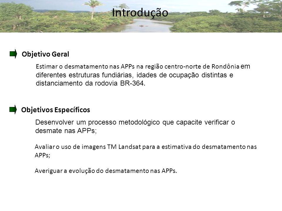 Objetivo Geral Estimar o desmatamento nas APPs na região centro-norte de Rondônia em diferentes estruturas fundiárias, idades de ocupação distintas e distanciamento da rodovia BR-364.