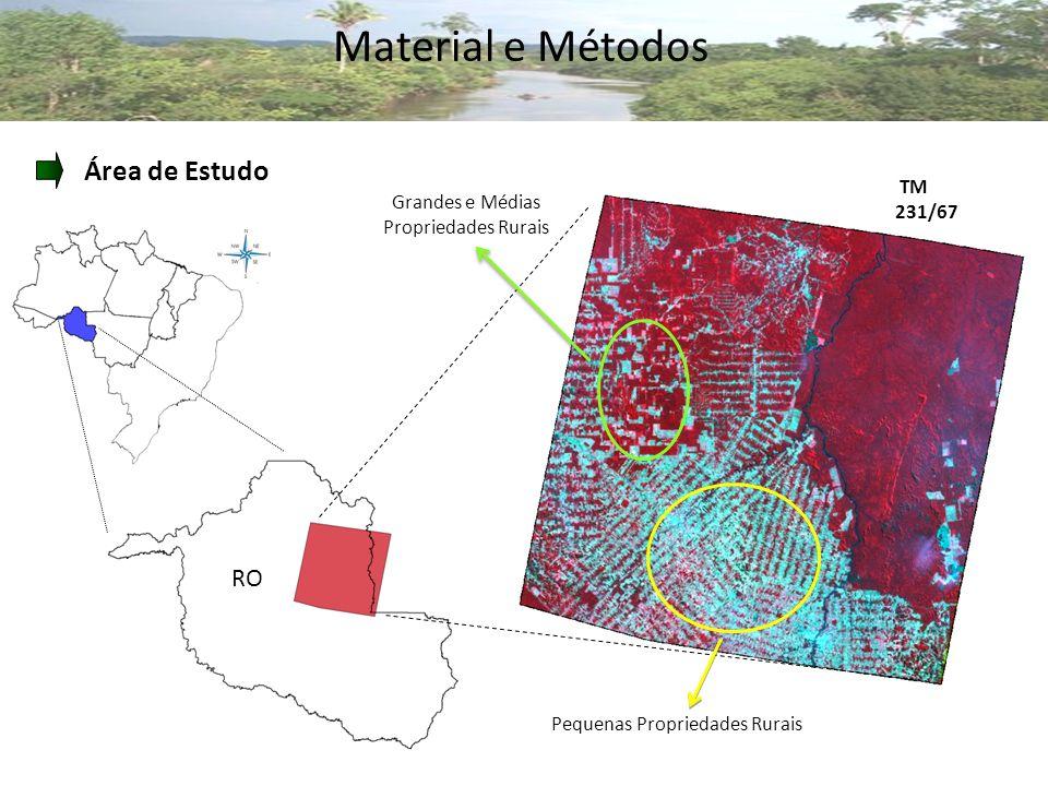 Material e Métodos Área de Estudo RO TM 231/67 Pequenas Propriedades Rurais Grandes e Médias Propriedades Rurais