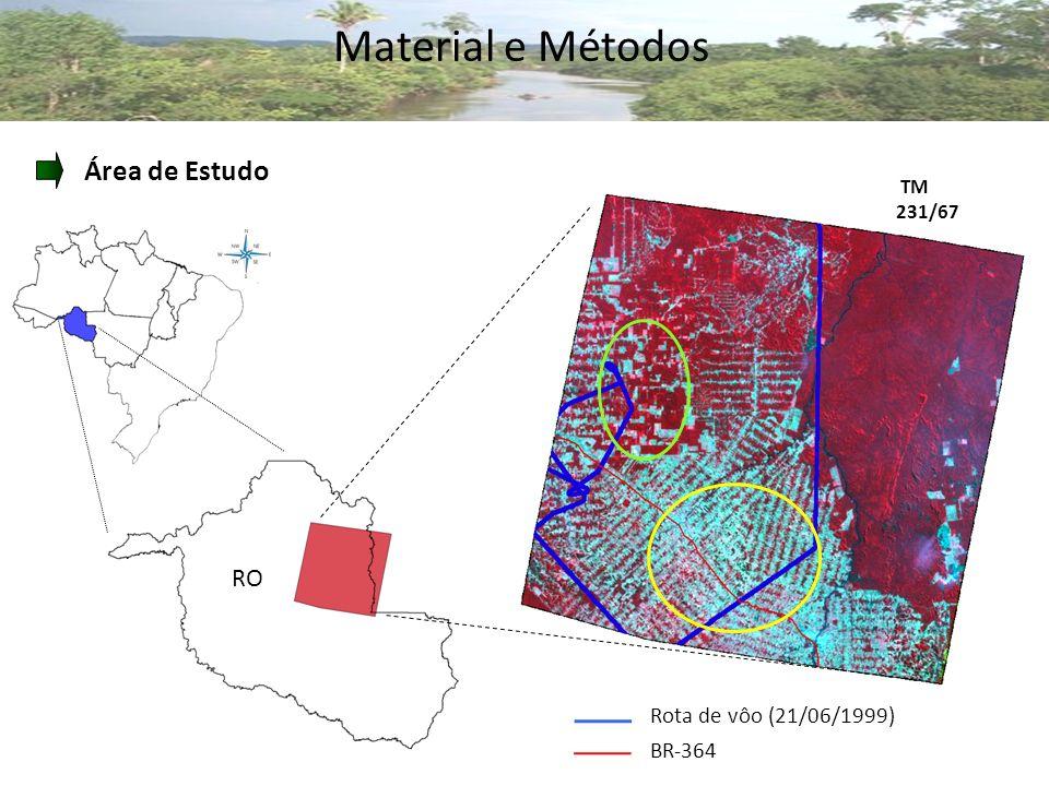 Material e Métodos Área de Estudo RO TM 231/67 Rota de vôo (21/06/1999) BR-364