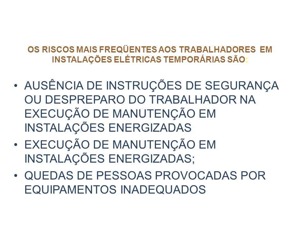 OS RISCOS MAIS FREQÜENTES AOS TRABALHADORES EM INSTALAÇÕES ELÉTRICAS TEMPORÁRIAS SÃO: Falta ou inadequação de aterramento elétrico Falta de comunicaçã
