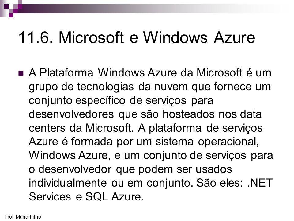 Prof. Mario Filho 11.6. Microsoft e Windows Azure A Plataforma Windows Azure da Microsoft é um grupo de tecnologias da nuvem que fornece um conjunto e