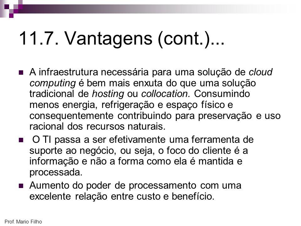 Prof. Mario Filho 11.7. Vantagens (cont.)... A infraestrutura necessária para uma solução de cloud computing é bem mais enxuta do que uma solução trad