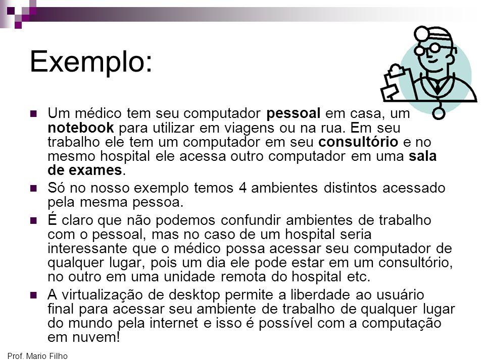 Prof. Mario Filho Exemplo: Um médico tem seu computador pessoal em casa, um notebook para utilizar em viagens ou na rua. Em seu trabalho ele tem um co