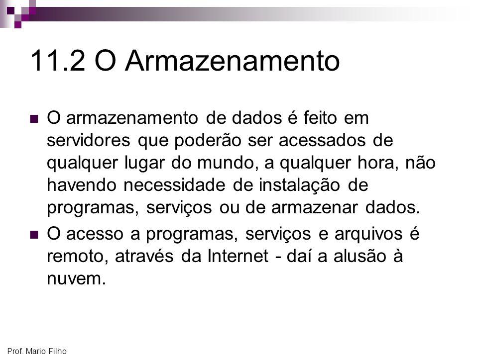 Prof. Mario Filho 11.2 O Armazenamento O armazenamento de dados é feito em servidores que poderão ser acessados de qualquer lugar do mundo, a qualquer