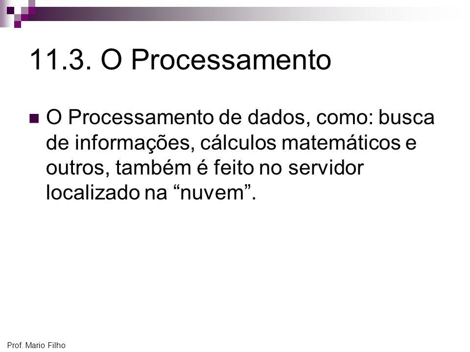 Prof. Mario Filho 11.3. O Processamento O Processamento de dados, como: busca de informações, cálculos matemáticos e outros, também é feito no servido