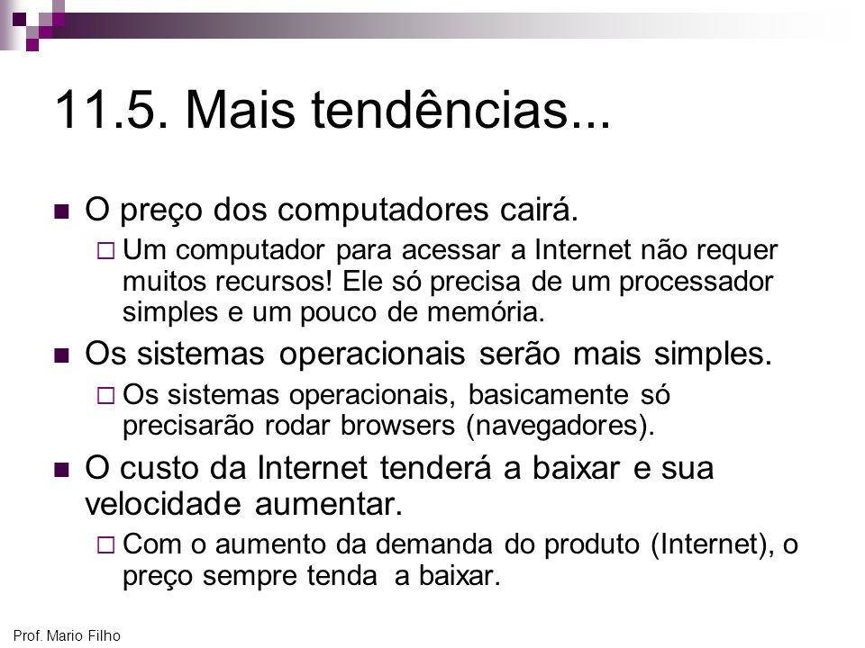 Prof. Mario Filho 11.5. Mais tendências... O preço dos computadores cairá. Um computador para acessar a Internet não requer muitos recursos! Ele só pr