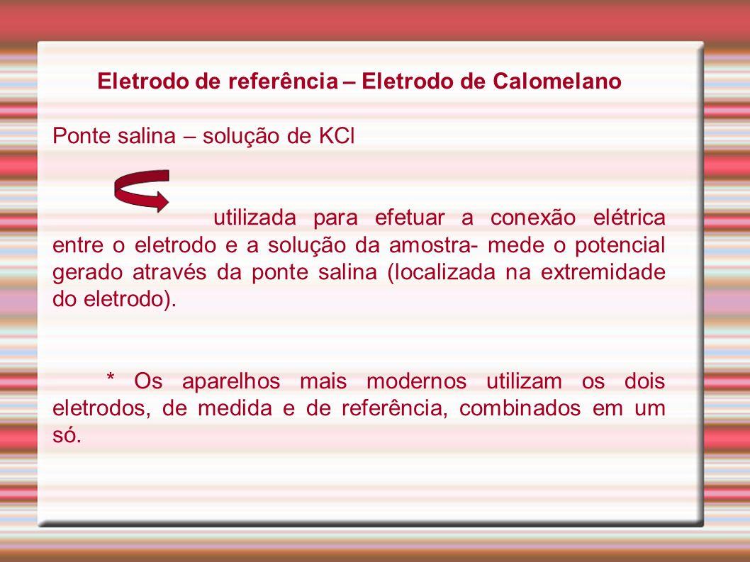 Eletrodo de referência – Eletrodo de Calomelano Ponte salina – solução de KCl utilizada para efetuar a conexão elétrica entre o eletrodo e a solução d