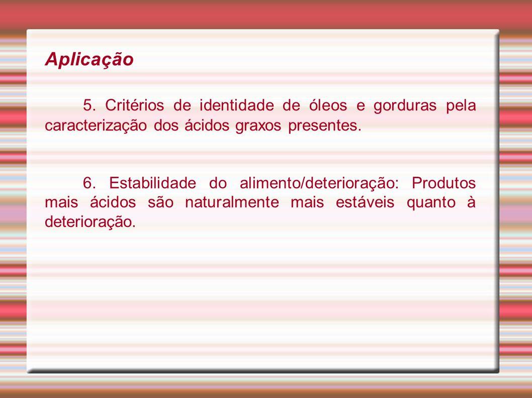 Aplicação 5. Critérios de identidade de óleos e gorduras pela caracterização dos ácidos graxos presentes. 6. Estabilidade do alimento/deterioração: Pr